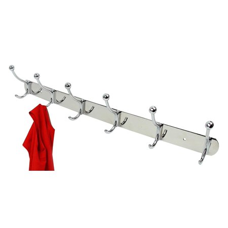 Decor Hut 6 Piece Double Hook Coat Rack, Wall Mount with Screws Included, Polished Nickel Silver Great for Hallway or Any Room, 12 Hook