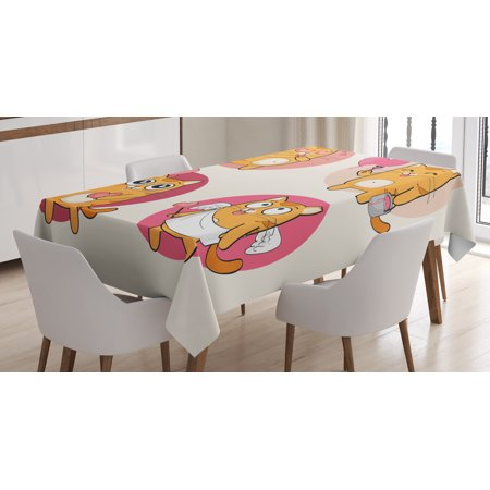 Kitty Tablecloth  Cartoon Cats Illustration Kitten In Love Painting A Heart Carrying Romantic Balloons  Rectangular Table Cover For Dining Room Kitchen  60 X 90 Inches  Multicolor  By Ambesonne