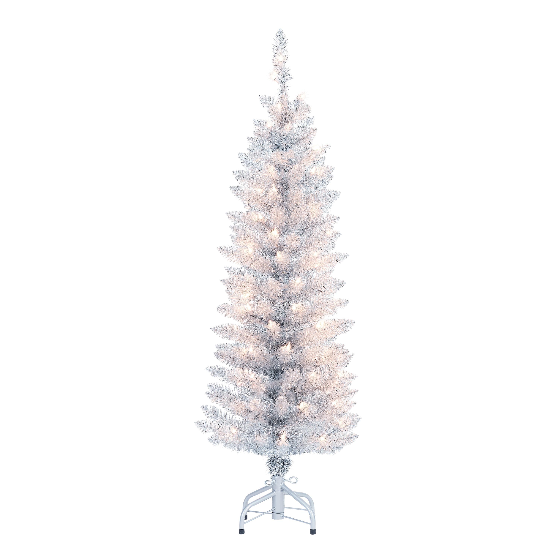 Holiday Time Pre Lit Silver Tinsel Christmas Tree 4 Clear Walmart Com Walmart Com