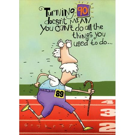 Oatmeal Studios Old Man Running: 90th Funny Masculine Birthday - 90th Birthday Cards