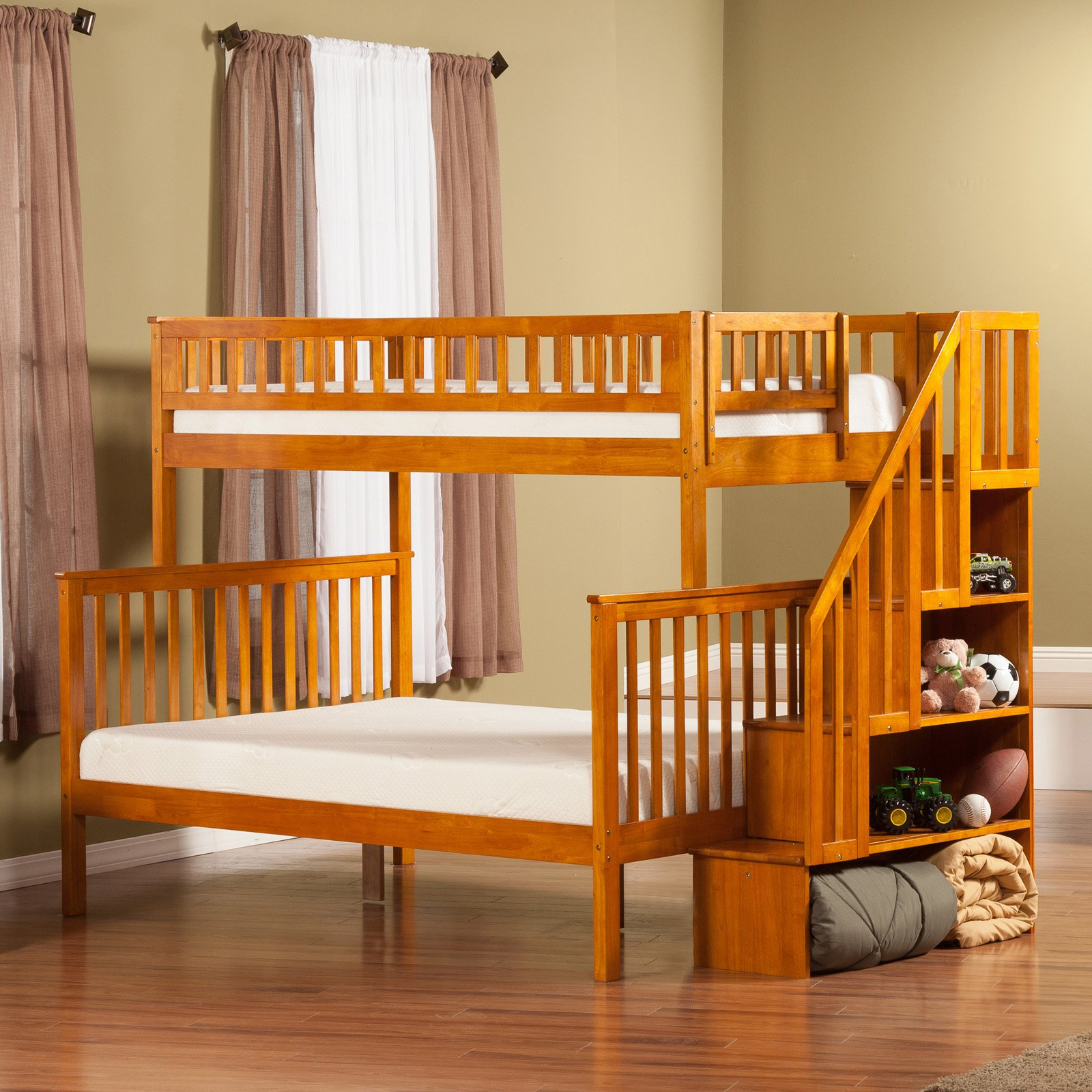 Woodland Twin over Full Staircase Bunk Bed