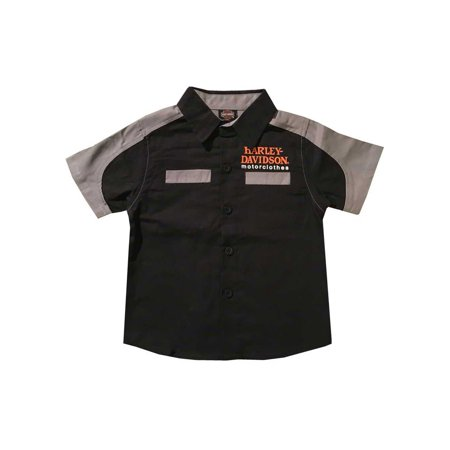 31a0b3c4 Harley-Davidson Little Boys' Short Sleeve Woven Shop Shirt, Black 1074823  (3T), Harley Davidson - Walmart.com