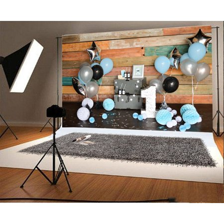 GreenDecor Polyster 7x5ft Photography Background Decorations for Holiday Party One Year Birthday Blue and White Paper Flower Balls Wood Case Balloons Stripes Wood Wall Photo Backdrop Studio Props - Paper Photo Backdrops
