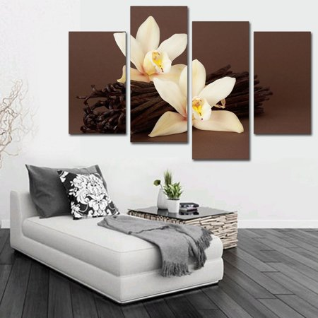 Large Fabric Panel Wall Hanging (5 Panels Abstract Orchid Floral Flowers Canvas Prints Oil Painting for Bedroom/Living Room Office Frameless Hanging Large Wall Art Decoration Brown)