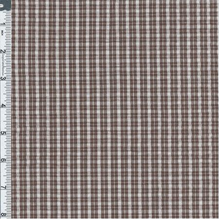 Brown/White Mini Plaid Cotton Seersucker, Fabric By the Yard