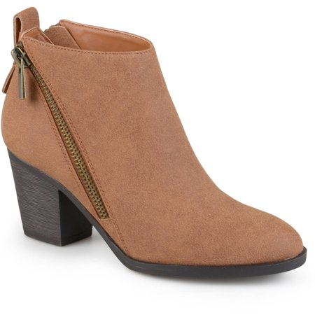 - Women's High Heeled Zippered Chunky Heel Ankle Booties