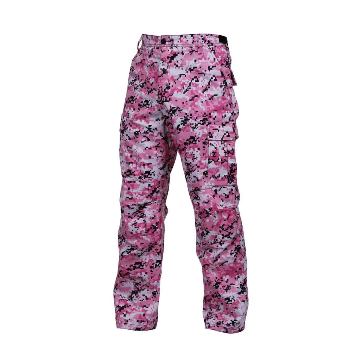 Military Style Digital Camo BDU Pants Military Fatigues, Pink Digital Camouflage