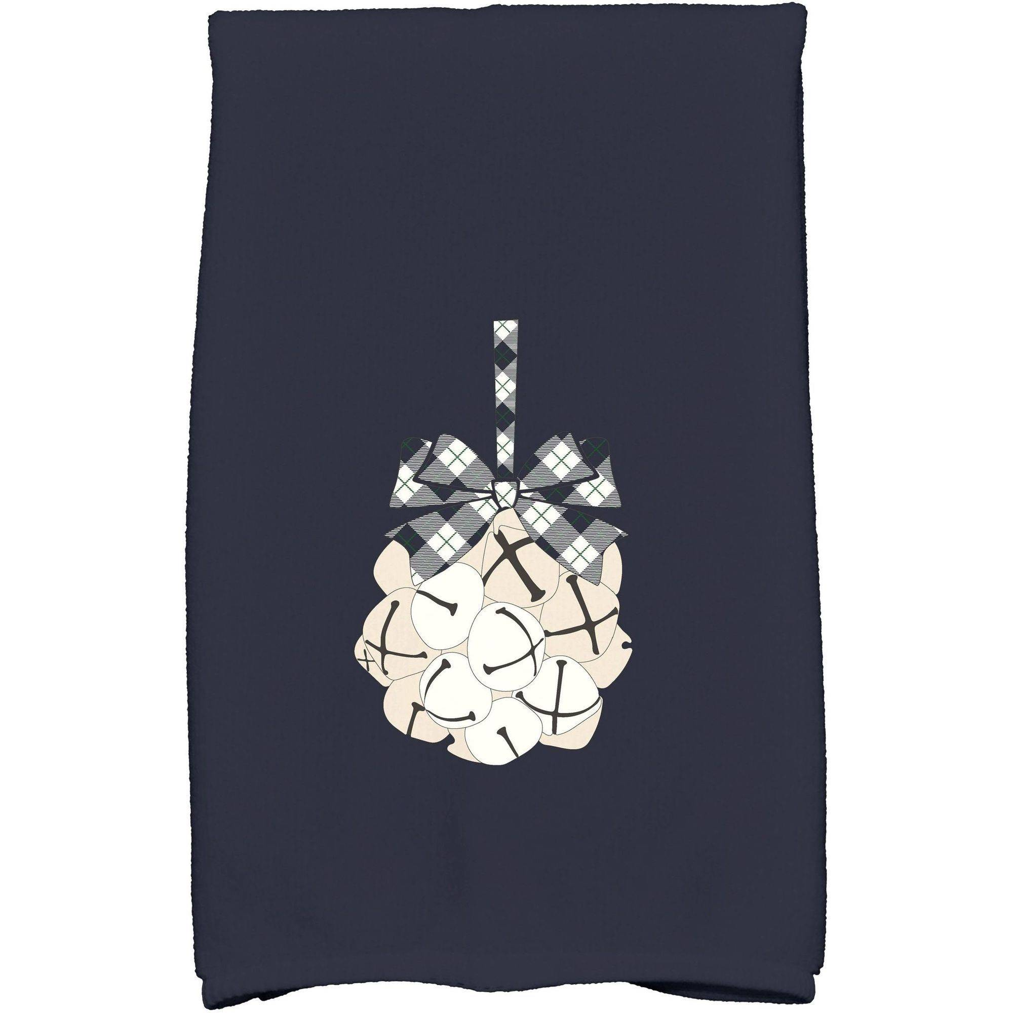 """Simply Daisy 16"""" x 25"""" Jingle Bells Holiday Geometric Print Kitchen Towel by E By Design"""
