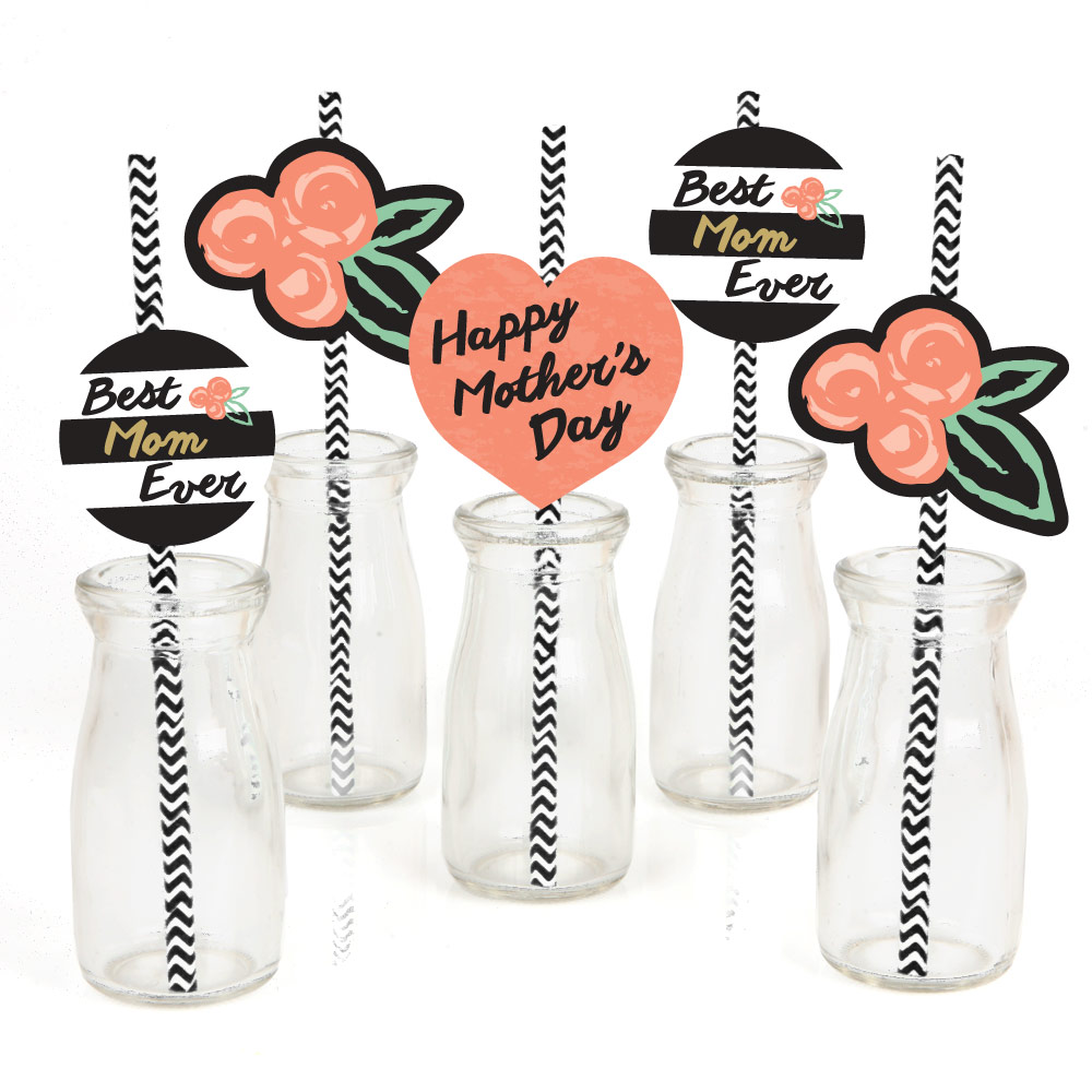 Best Mom Ever - Paper Straw Decor - Mother's Day Party Striped Decorative Straws - Set of 24