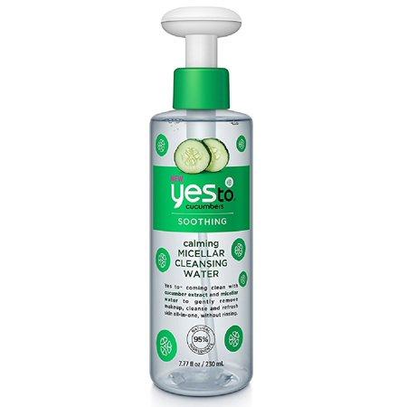 Soothing Cucumber - Yes To Cucumbers Soothing Calming Micellar Cleansing Water, 7.77 Oz + Makeup Blender Sponge