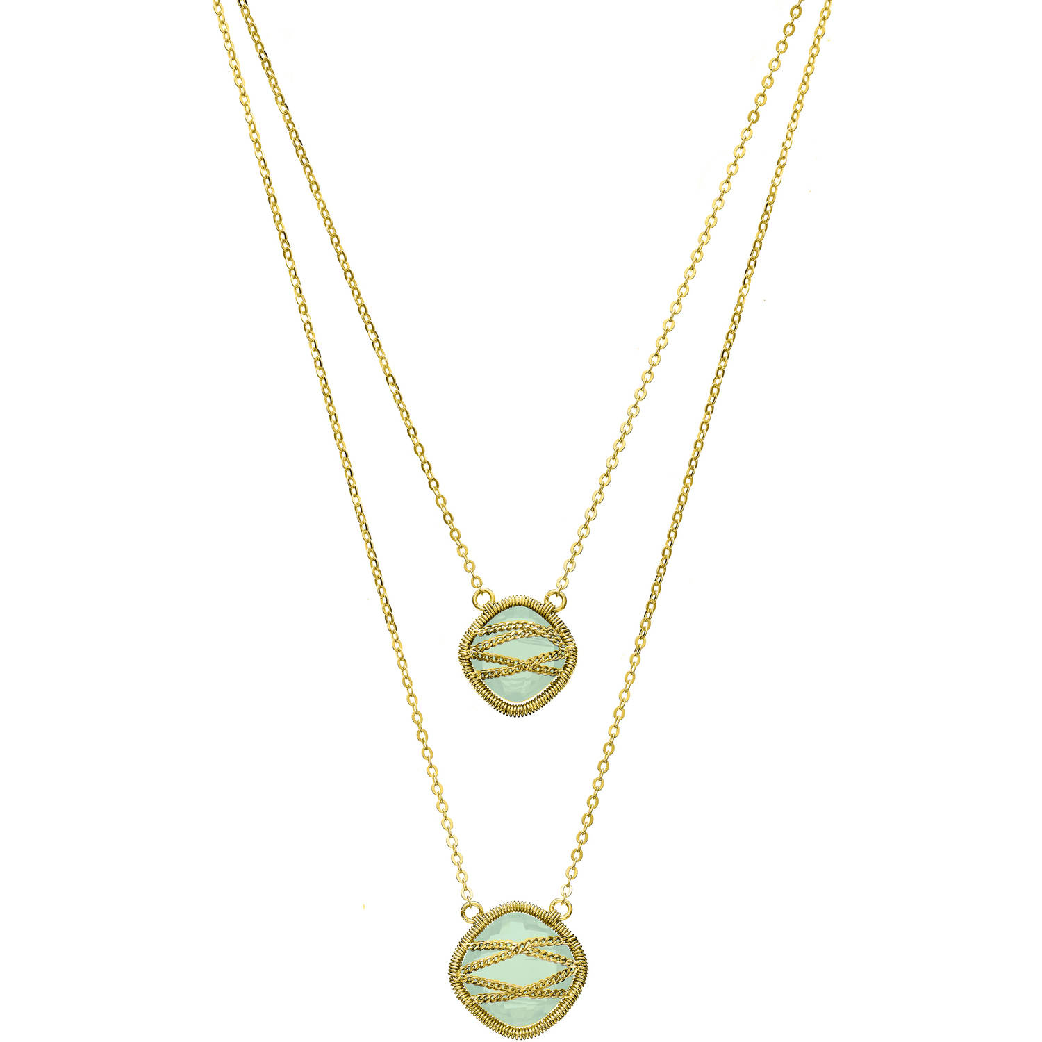 Image of 5th & Main 18kt Gold over Sterling Silver Hand-Wrapped Double-Drop Squared Chalcedony Stone Necklace