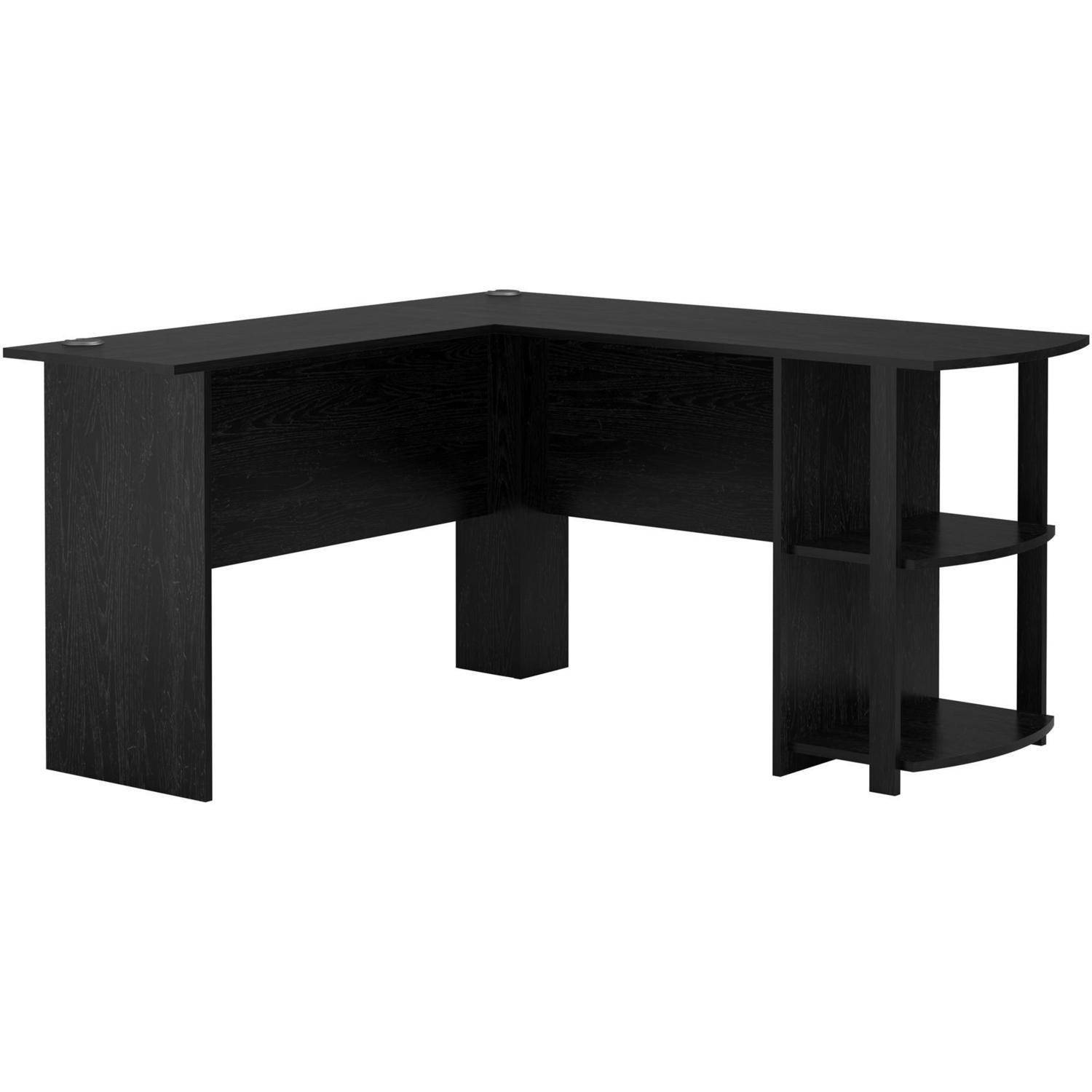 L Shaped Corner Computer Desk Black Wood Home Office Pc Workstation Study Laptop