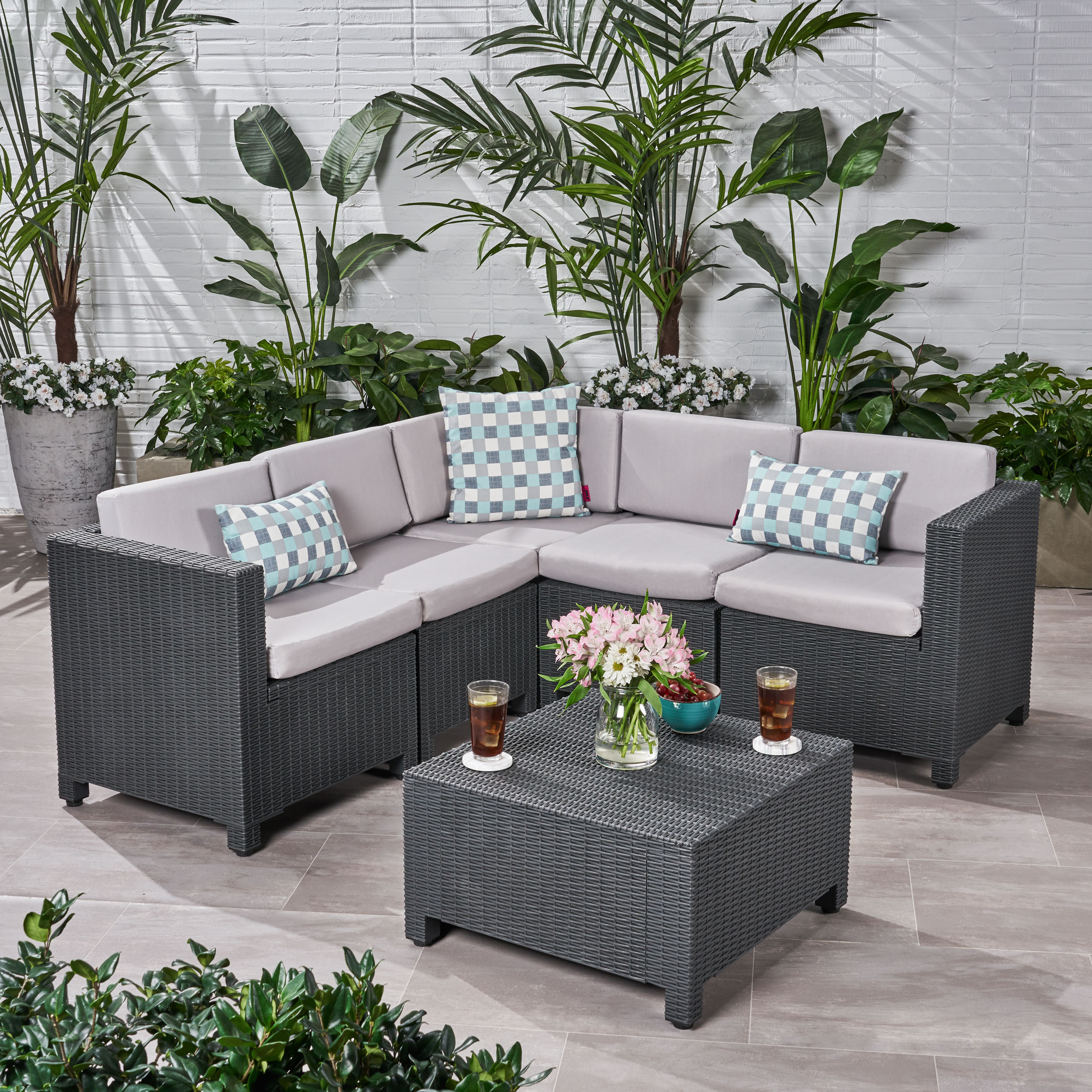 Primrose Outdoor All Weather Faux Wicker 5 Seater ...
