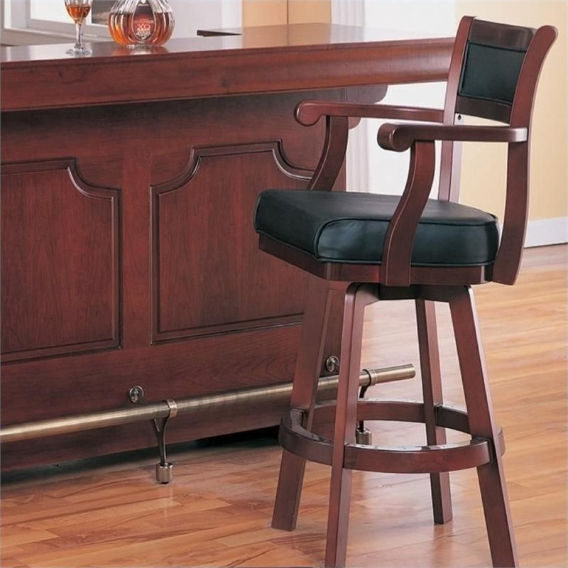 "Bowery Hill 30"" Leather Back Swivel Bar Stool in Cherry"