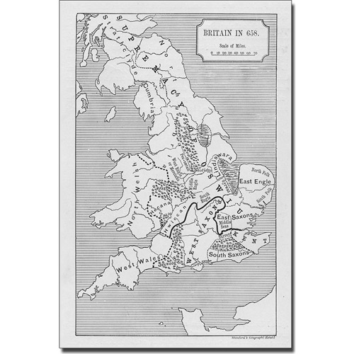 Trademark Art 'Map of Britain in 658' Canvas Art