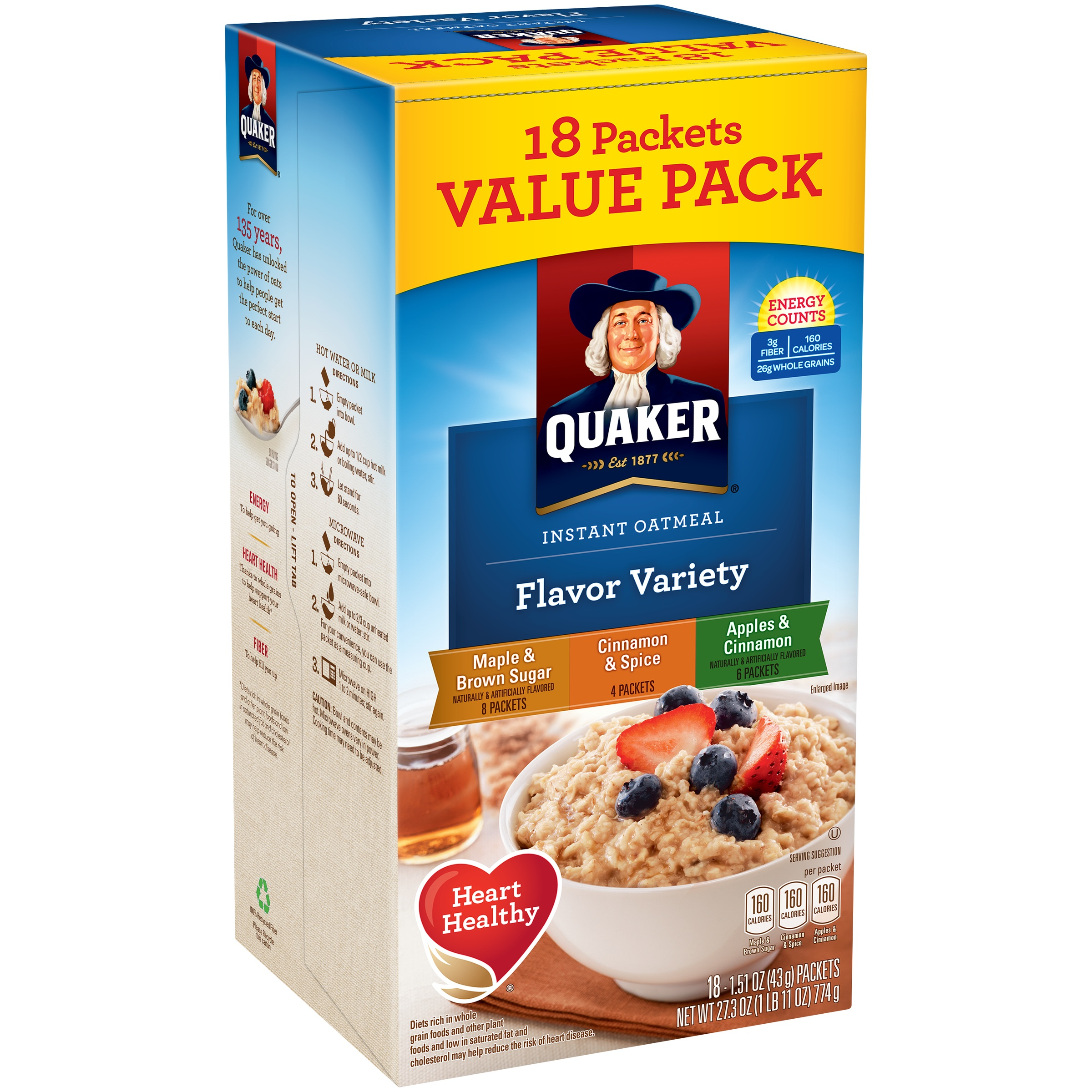 Quaker Instant Oatmeal, Flavor Variety Value Pack, 18 Packets