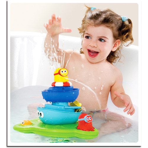 Yookidoo Stack N' Spray Bathtub Water Fountain Boat Propeller Octopus Bath Toy YOO40115