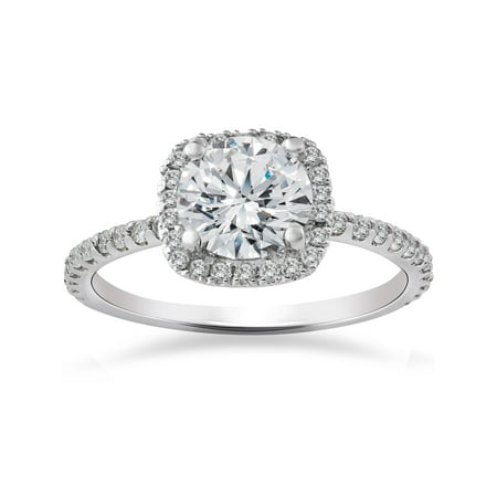 FG/SI 2 Carat Cushion Halo  Diamond Engagement Ring 14K White Gold (2 Carrot Diamond Engagement Ring)