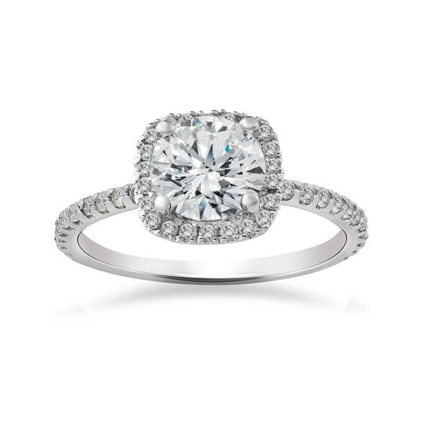 Pompeii3 2 Carat Cushion Halo Diamond Engagement Ring 14k White Gold Walmart Com Walmart Com