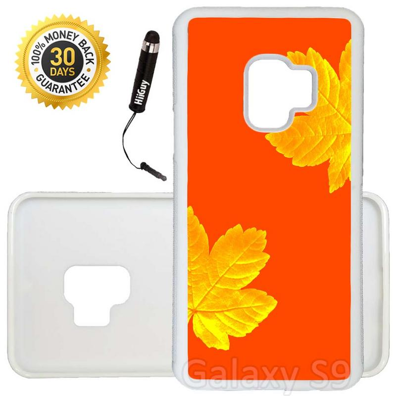Custom Galaxy S9 Case (Yellow Leaves on Orange) Edge-to-Edge Rubber White Cover Ultra Slim | Lightweight | Includes Stylus Pen by Innosub