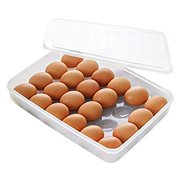 Egg Holder for Refrigerator with Lid, Covered Eggs Tray Carrier Food Storage Containers, Plastic Stackable Organizer Case Protect and Keep Fresh for Fridge, Stores 24 eggs (Pack of 1)