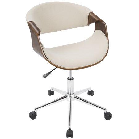 Curvo Mid-Century Modern Office Chair in Walnut and Cream by