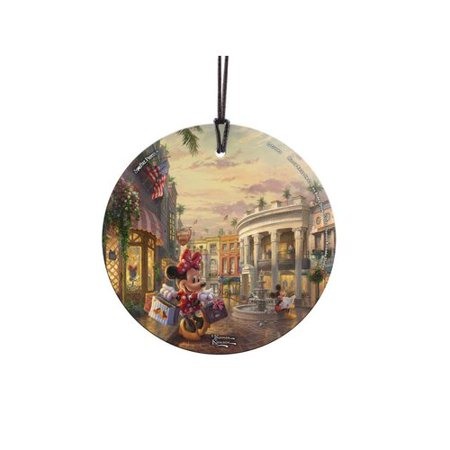 Minnie Glass (Trend Setters Disney's Minnie Mouse Rocks the Dots on Rodeo Drive Hanging Glass Shaped Ornament )