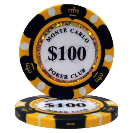 $100 Monte Carlo 14 Gram Poker Chips Monte Carlo Game Table