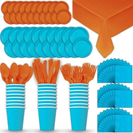 Paper Tableware Set for 24 - Turquoise & Orange - Dinner and Dessert Plates, Cups, Napkins, Cutlery (Spoons, Forks, Knives), and Tablecloths - Full Two-Tone Party Supplies Pack