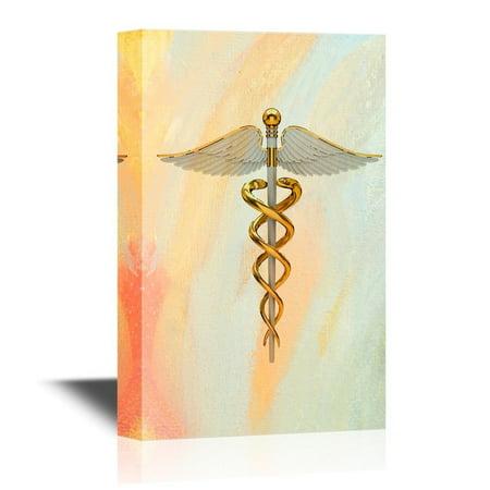 wall26 Canvas Wall Art - Golden Caduceus Medical Symbol - Gallery Wrap Modern Home Decor   Ready to Hang - 16x24 inches