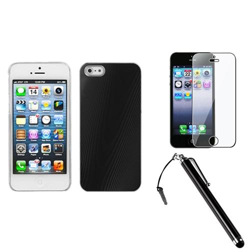 Insten Black Cosmo Back Case For iPhone SE 5S 5 + Stylus + Protector