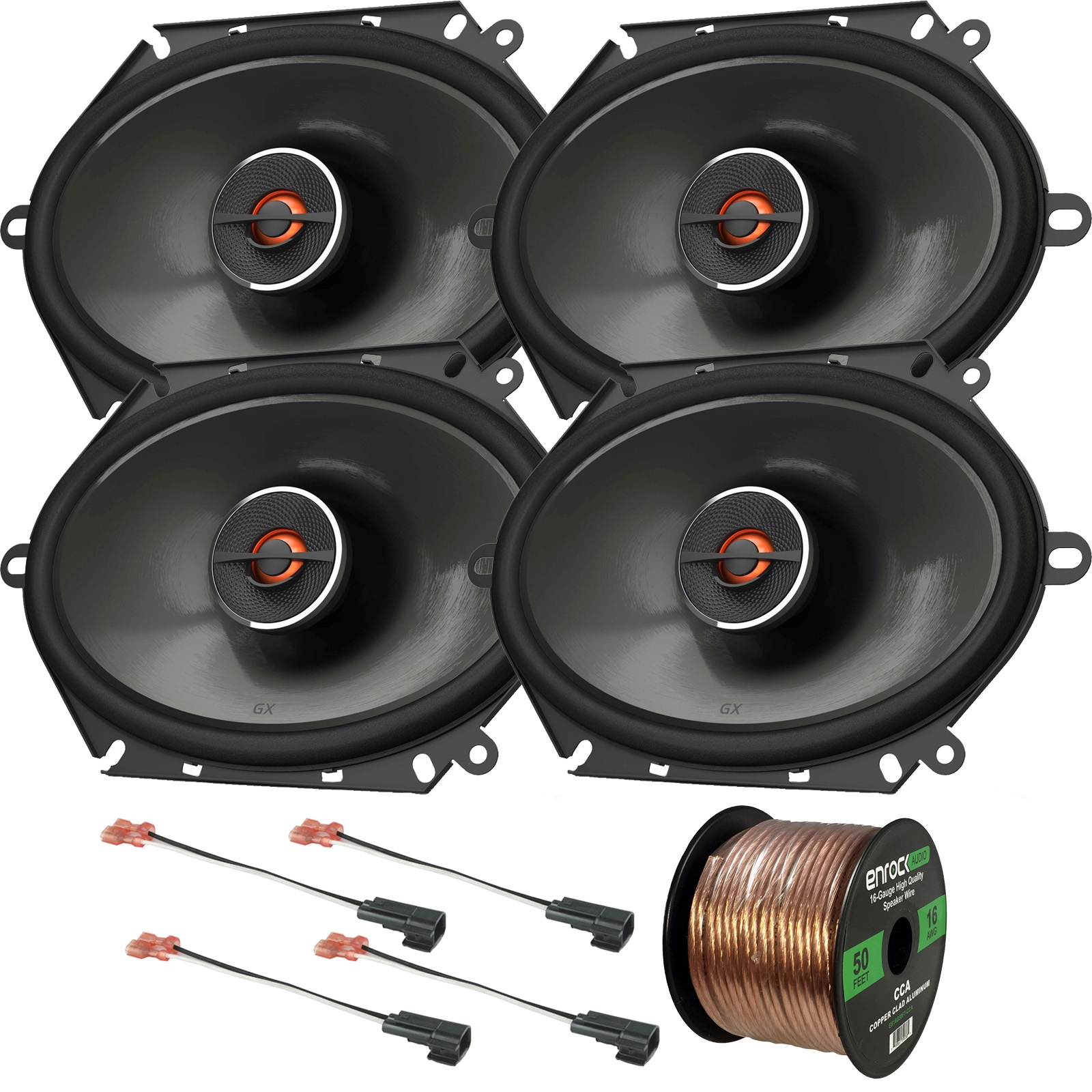 "4 x JBL GX862 5x7""/6x8"" Custom Fit 180W 2-Way Coaxial Audio Speakers (Bulk Packaging), 4 x Metra 72-5600 Speaker Adapters for Select Ford Vehicles, 16 Gauge 50Ft. Speaker Wire"