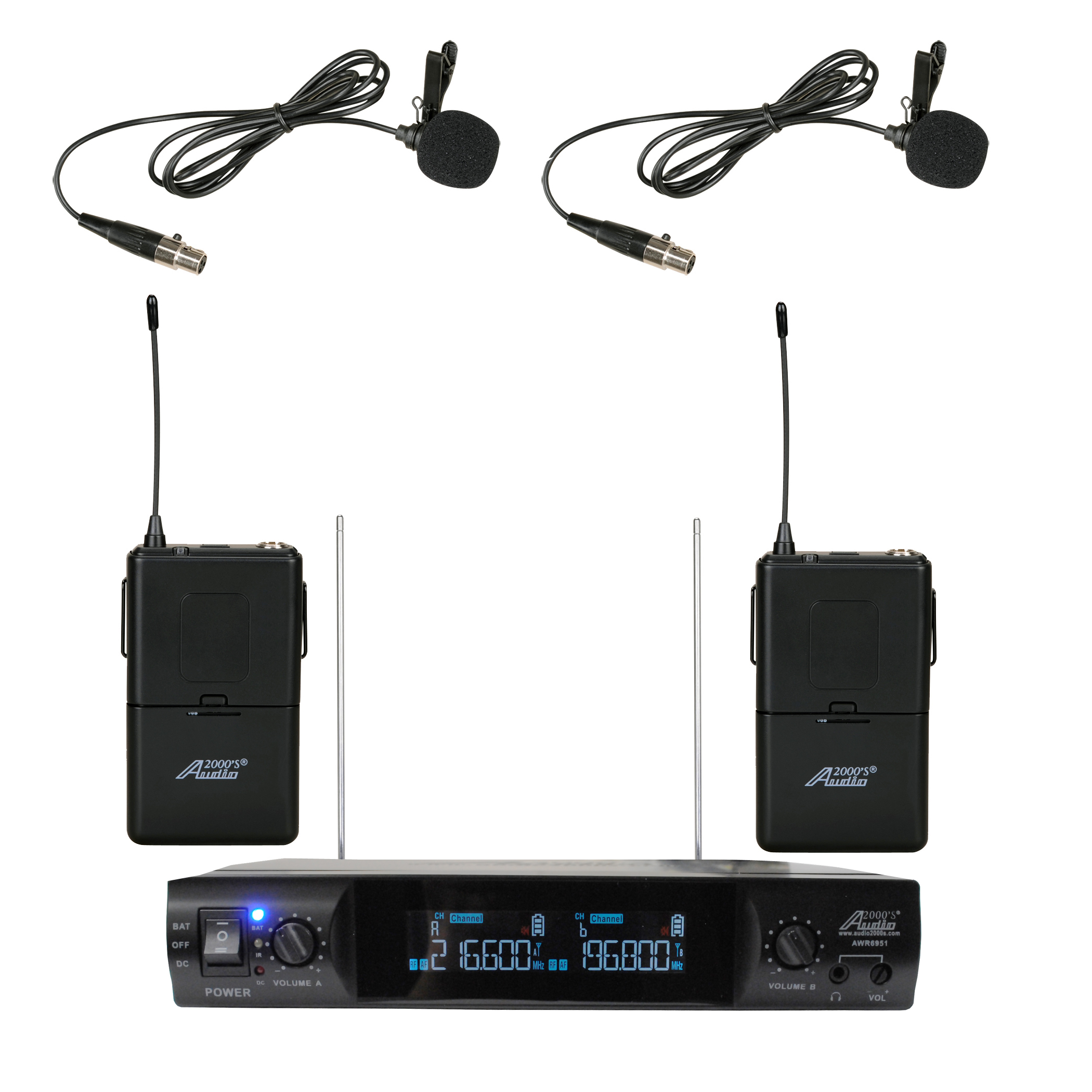 Audio2000's AWM6951VM VHF Dual Channel Portable Wireless Lavalier Microphone by