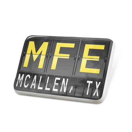 Porcelein Pin MFE Airport Code for McAllen, TX Lapel Badge – NEONBLOND