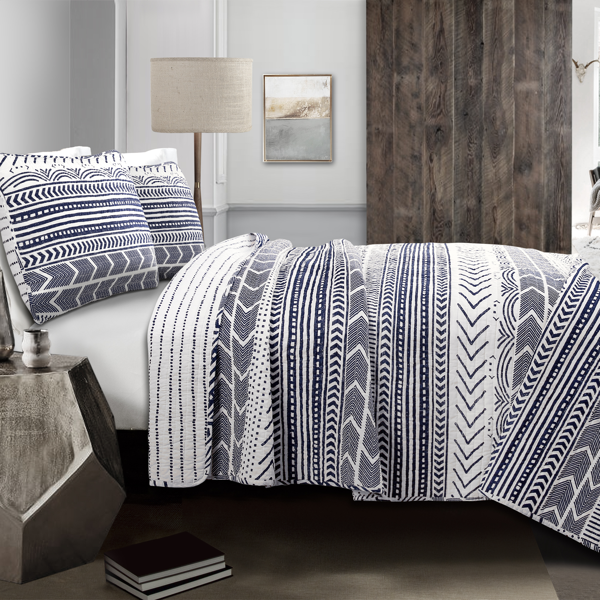 Hygge Geo Quilt Navy/White 3Pc Set Full/Queen