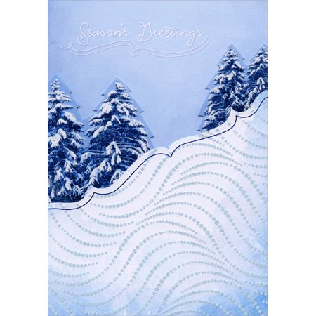 Designer Greetings Die Cut Snow and Trees Box of 18 Christmas -