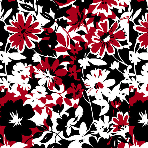 Cotton Floral Fabric, Red/White/Black