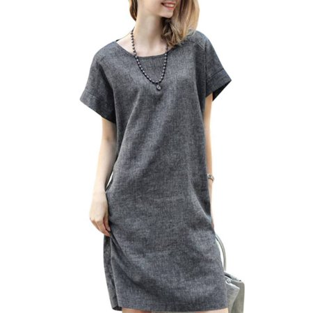 Cotton Solid Dress (MAXSUN Casual Women Short Sleeve Loose Top Solid Cotton Linen)
