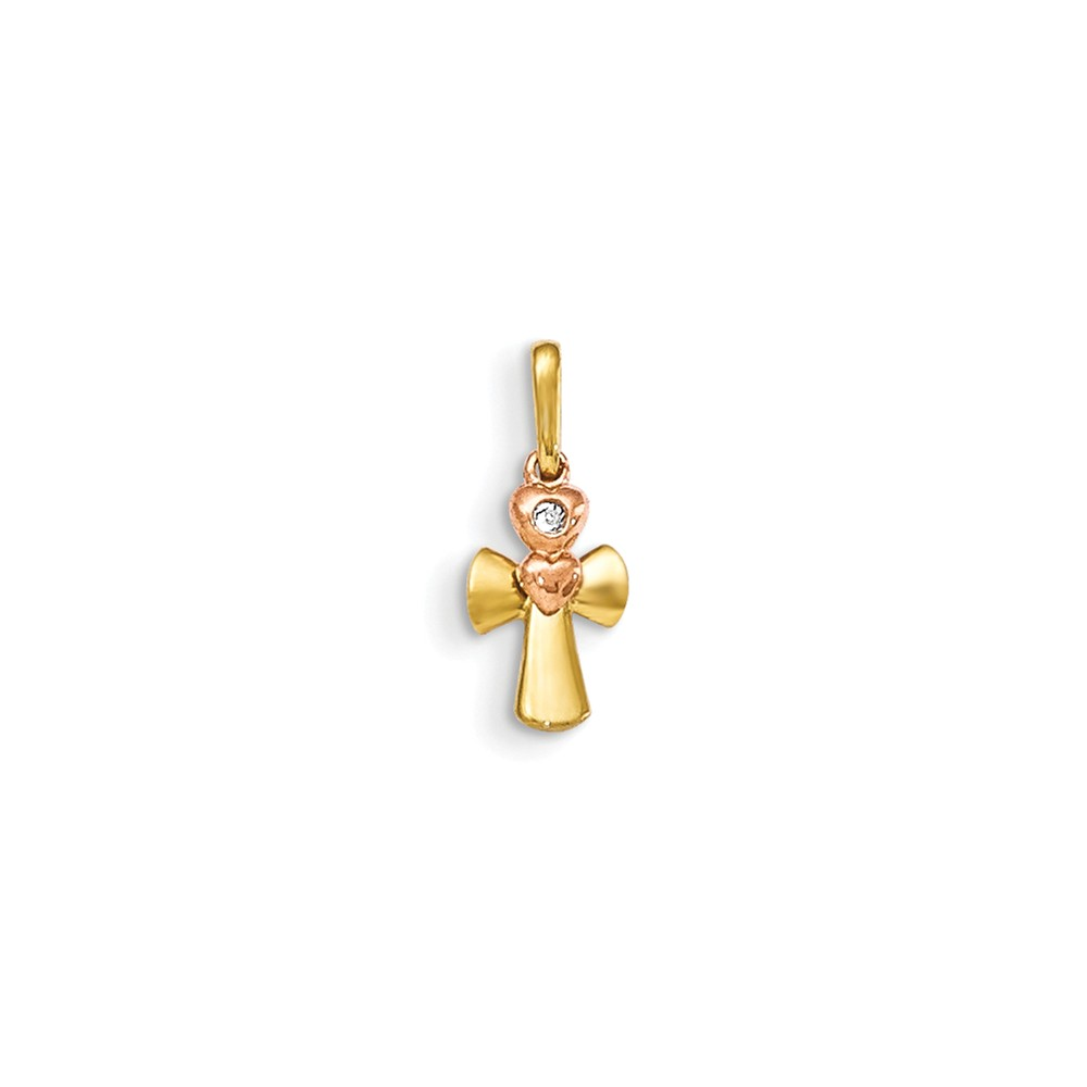 14k Two Tone Yellow and Rose Gold CZ Children's Cross Heart Pendant