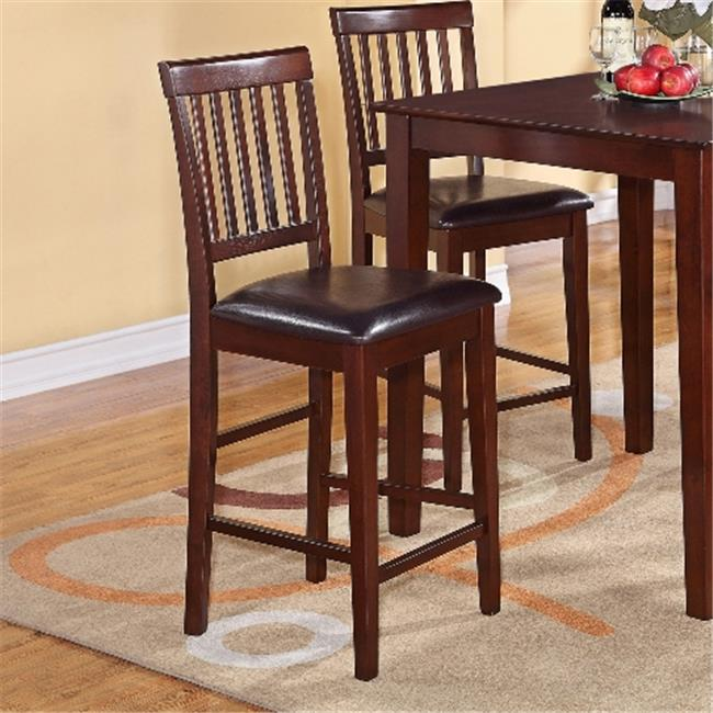 Wooden Imports Furniture VN10-LC-MAHO Vernon Counter Stools with Faux Leather Seat - Mahogany- Set of 2