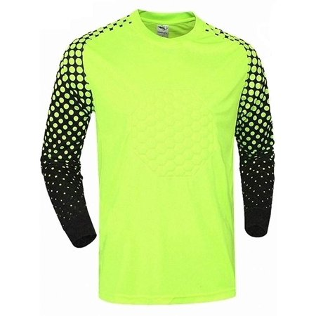 Soccer Goalie Shirt Lightweight Fabric Padded Chest and Elbows (Medium) Yellow Chest Padded Baseball Shirt