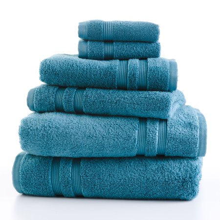 Mainstays Performance Solid 6-Piece Bath Towel Set - Coolwater