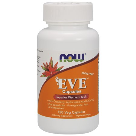 NOW Supplements, Eve? Women's Multivitamin with Cranberry, Alpha Lipoic Acid and CoQ10, plus Superfruits - Pomegranate, Acai & Mangosteen, Iron-Free, 120 Veg Capsules