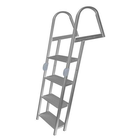 Mount Boarding Ladder - JIF Marine ERR7 7-Step Folding Ladder Aluminum with Mounting Hardware