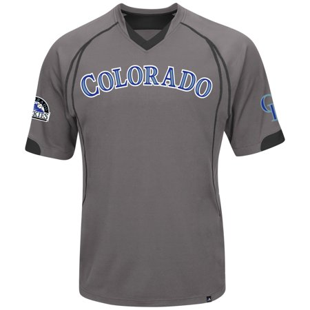 "Colorado Rockies Majestic MLB ""Lead Hitter"" V-Neck Fashion Jersey Charcoal by"