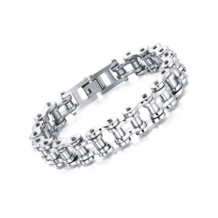 Polished Mens Stainless Steel Biker Motorcycle Bicycle Style Chain Link Bracelet