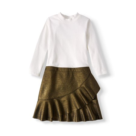 Wonder Nation Girls' Knit and Metallic Scuba Combo Dress (Girls Dreeses)
