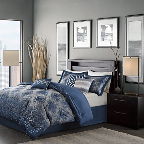 Madison Park Shelby Complete Comforter and Cotton Sheet Set Grey King Madison Park Essentials MPE10-012