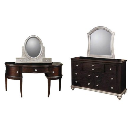 2 Piece Bedroom Set with Mirrored Dresser and Vanity in Black Cherry
