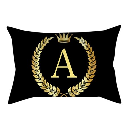 Pillow Cover Black and Gold Letter Pillowcase Sofa Cushion Cover Home Decor ()